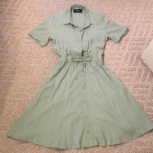Vintage sage green shirt dress